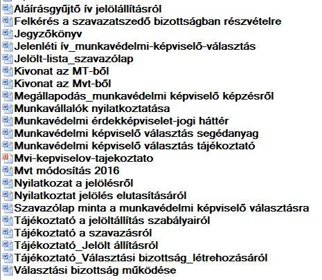 Munkavédelmi képviselő választás dokumentum-csomag